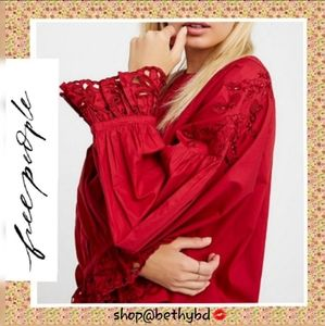 Free People 💼 Wishing Well Red Blouse NWT